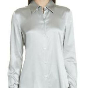 Theory NWT Stretch Silk Classic Fitted Shirt M